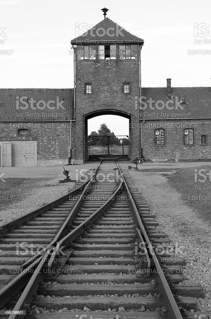 Main entrance to Auschwitz stock photo