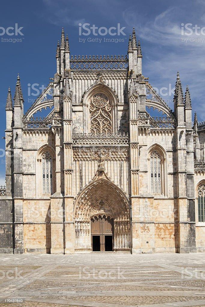 Main entrance to Batalha Monastery, Portugal. stock photo