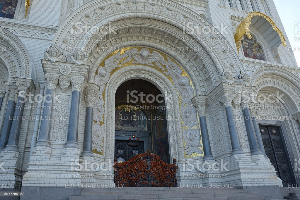 Main entrance to cathedral stock photo