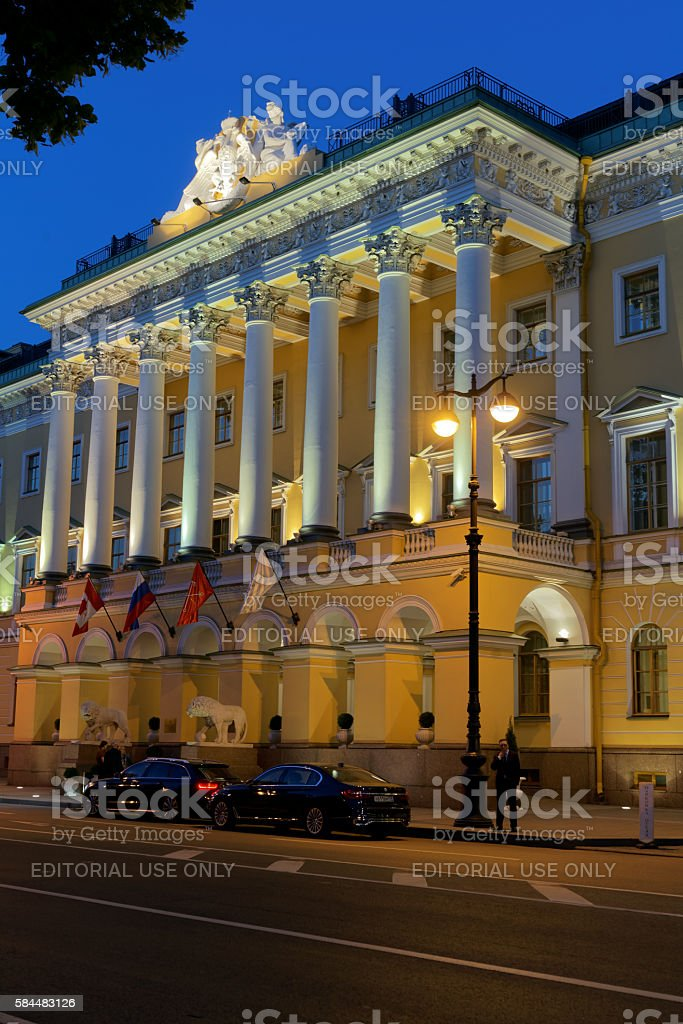 Main entrance to Four Seasons hotel in St. Petersburg, Russia stock photo