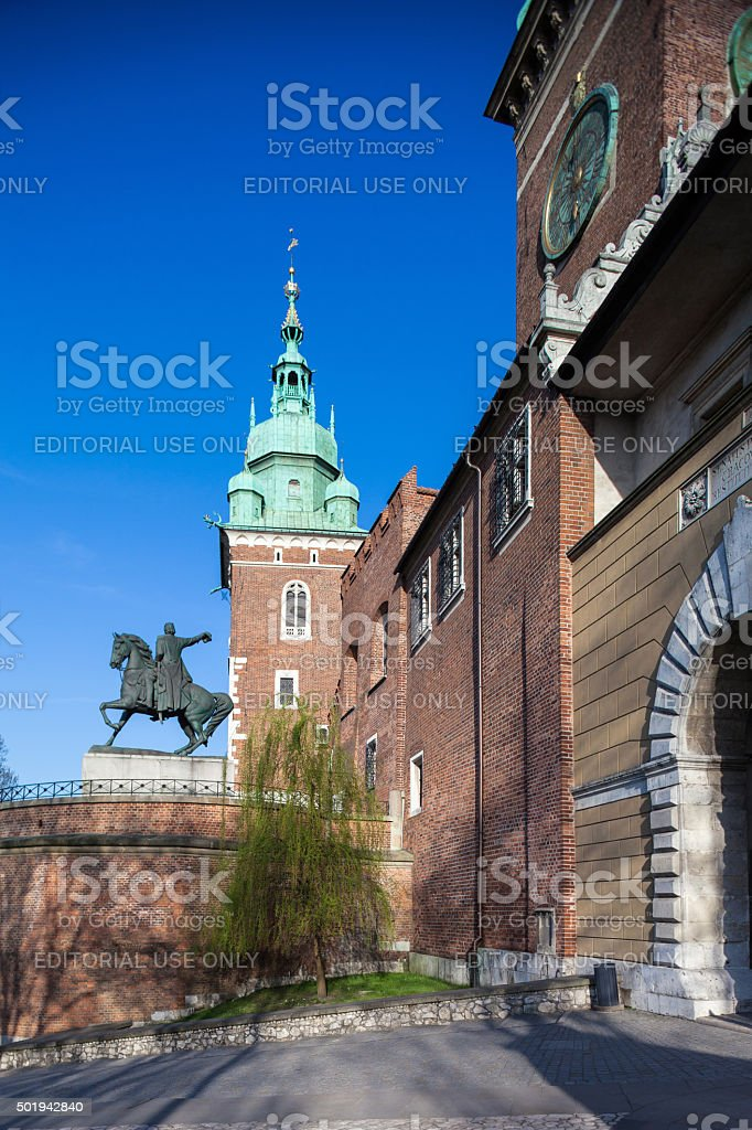 Main entrance to Royal Wawel Castle in Krakow, Poland stock photo