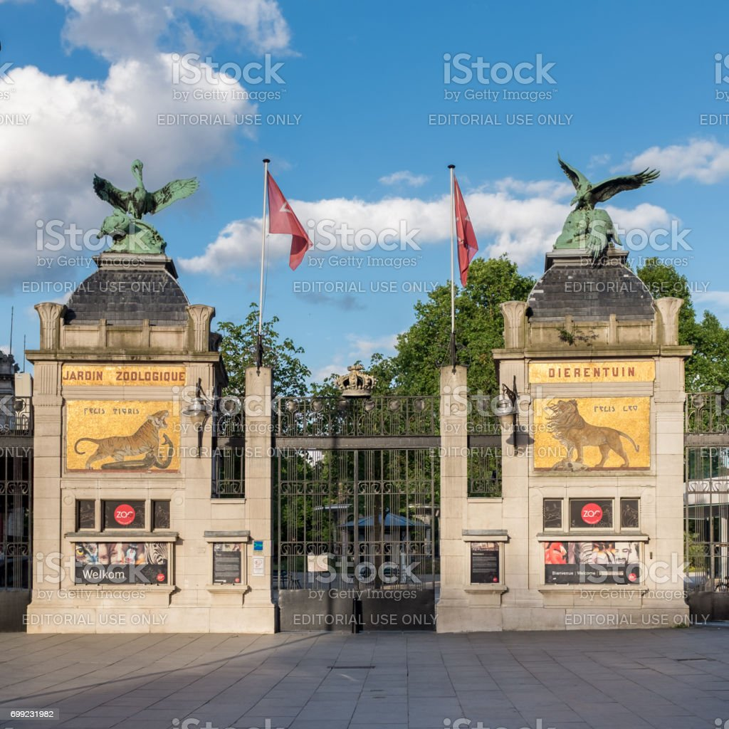 Main entrance to the Antwerp Zoo. stock photo