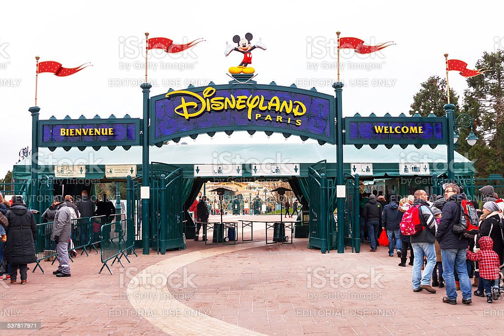 Main entrance to the Disneyland Paris. France. Europe. stock photo