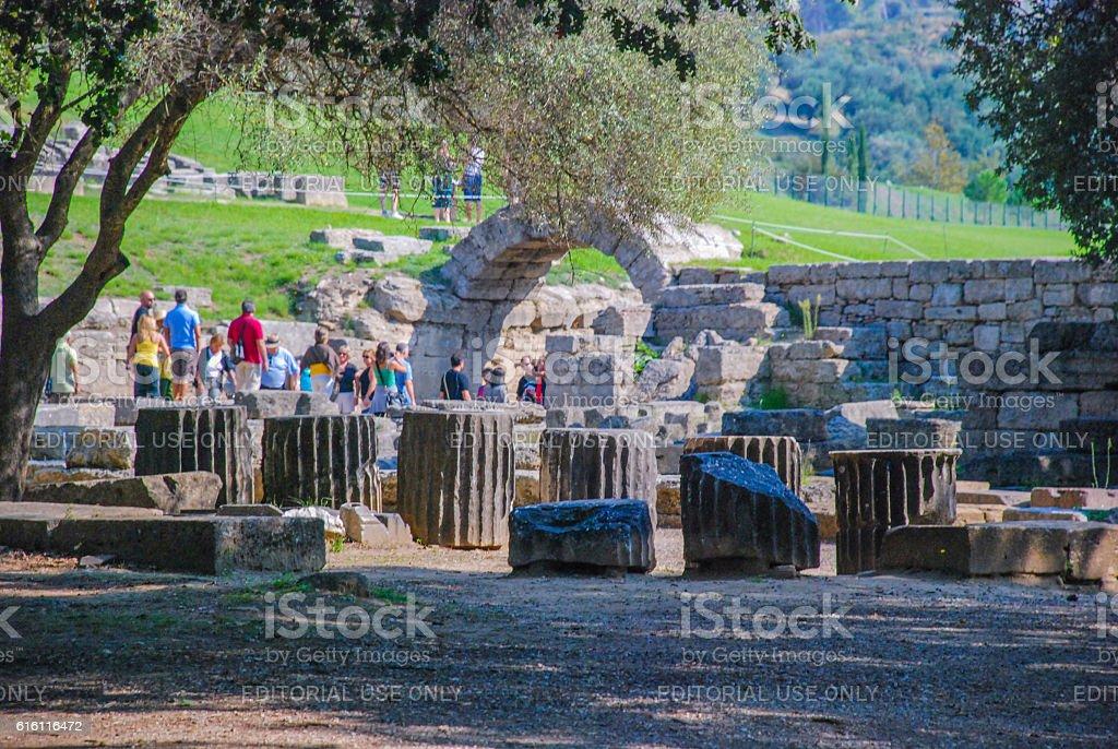 Main entrance to the stadium IV century BC stock photo