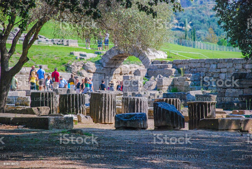 Main entrance to the stadium IV century BC stock photo