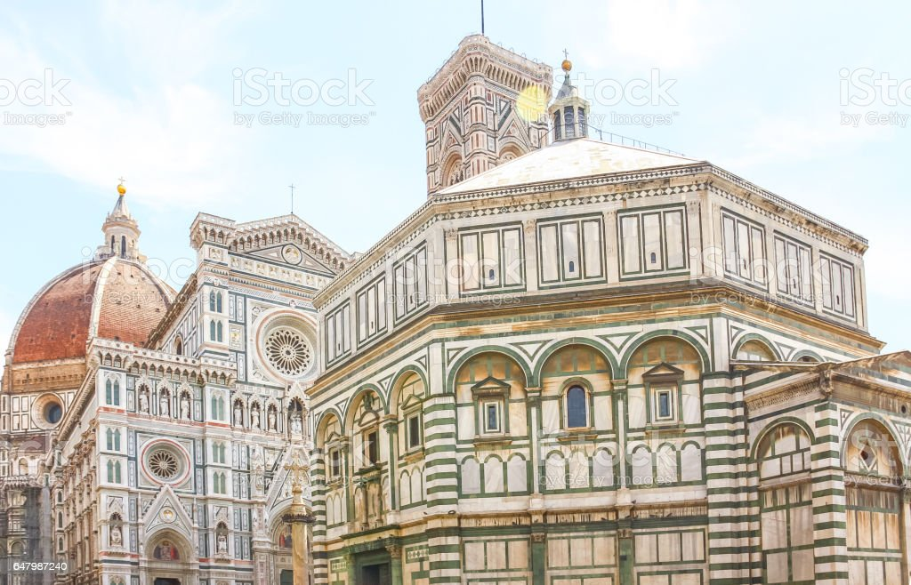 Main facade of The Basilica di Santa Maria del Fiore stock photo
