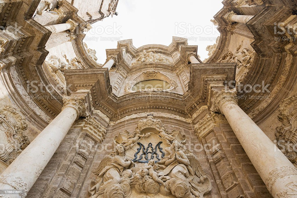 Main facade of the Cathedral of Valencia royalty-free stock photo