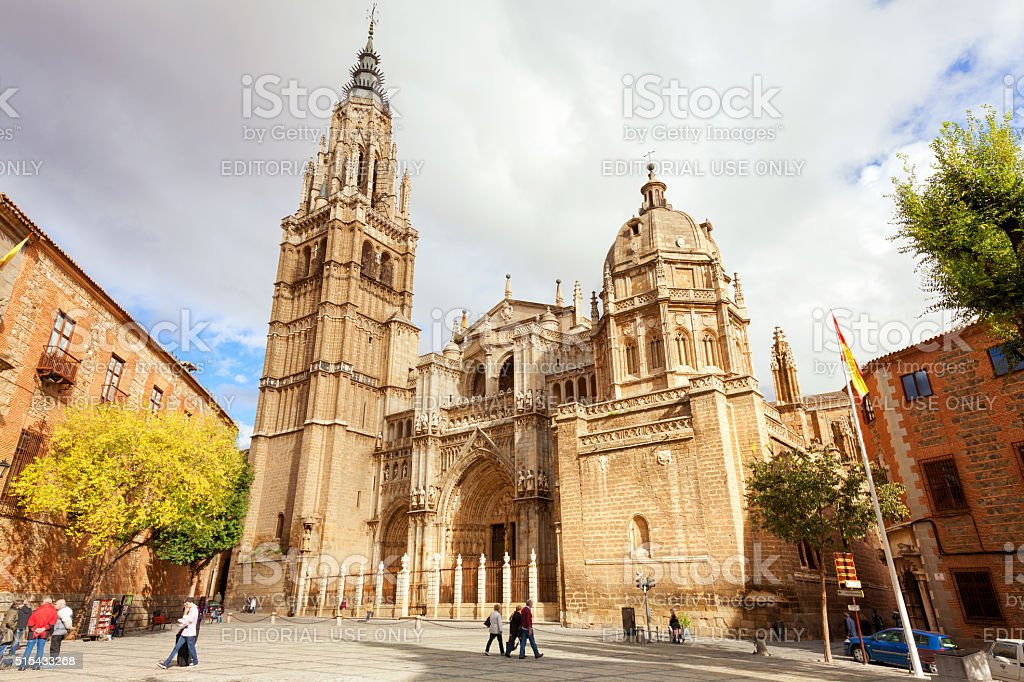 Main facade of Toledo Cathedral, Spain stock photo