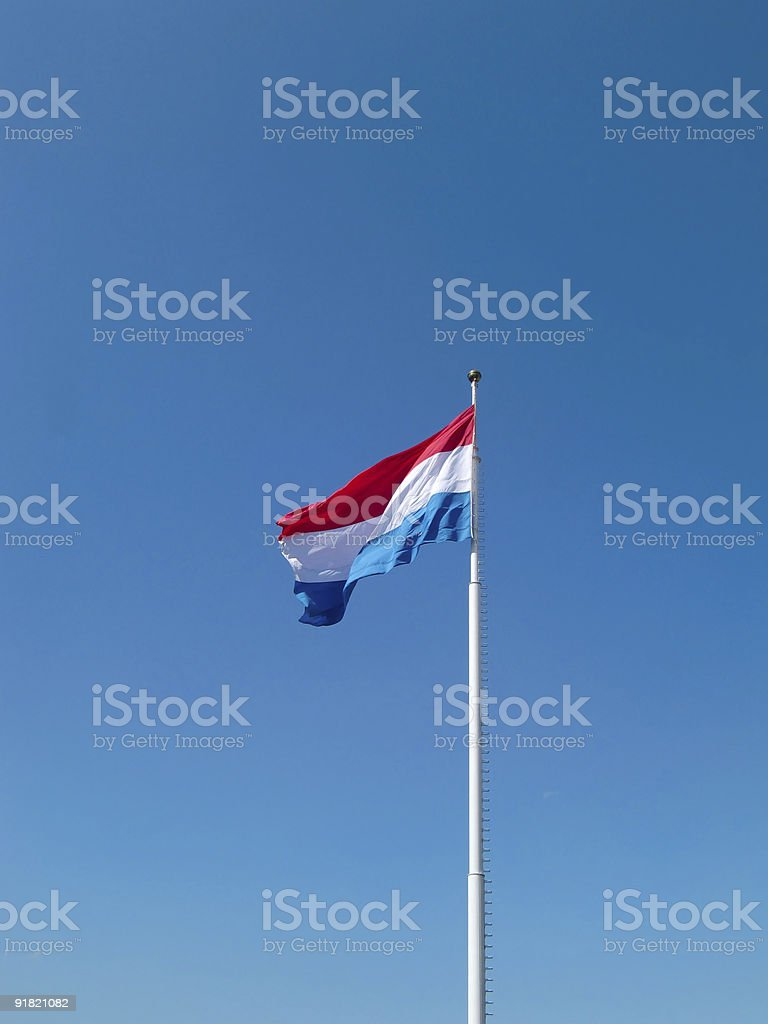 Main flag of Luxembourg in the city stock photo