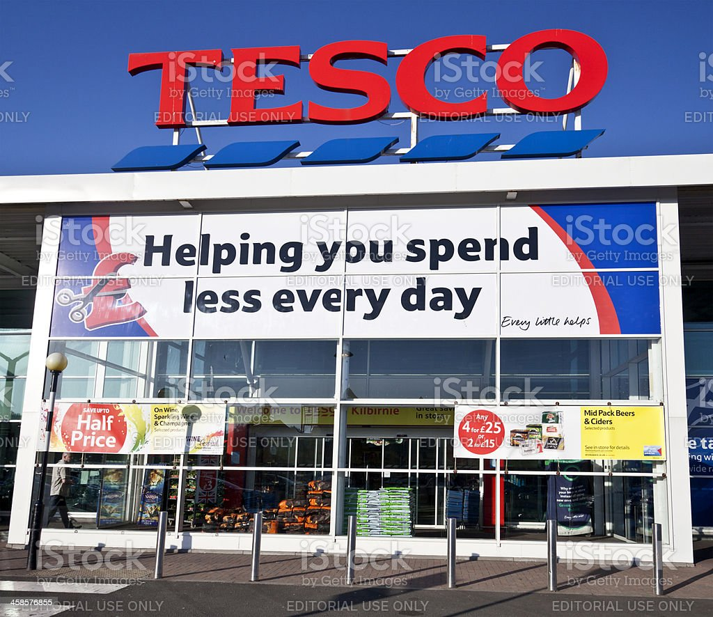 Main frontage of a Tesco superstore in Scotland stock photo