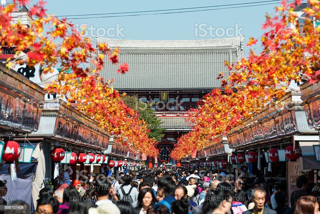 Main Gate and lamps in Sensoji Temple in Tokyo, Japan stock photo