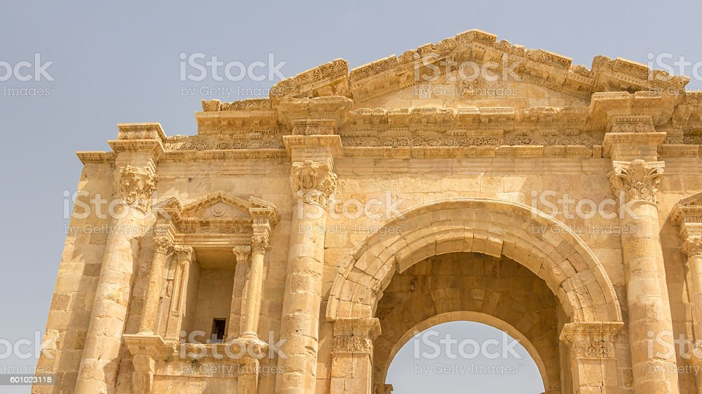 Main gate Hadrian's Arch in Jerash (Jordan) stock photo