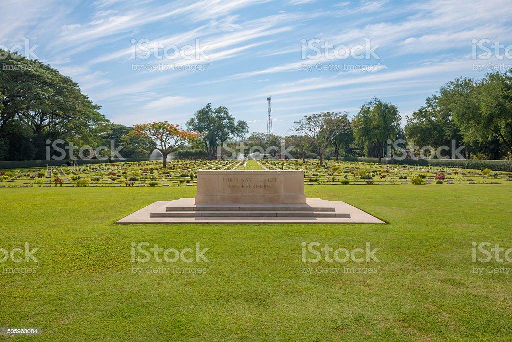 Main Gate of  Chong-Kai War Cemetery at Kanchanaburi, Thailand. stock photo