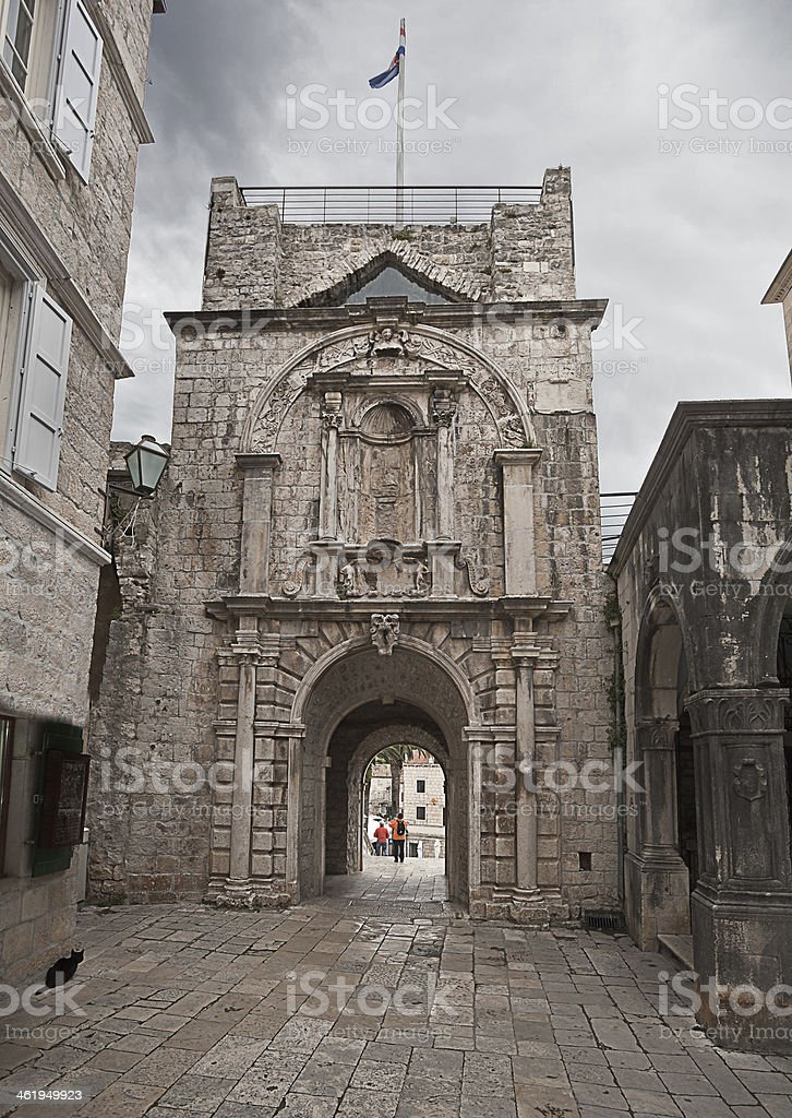 main gate to the old Korcula town. Croatia. royalty-free stock photo