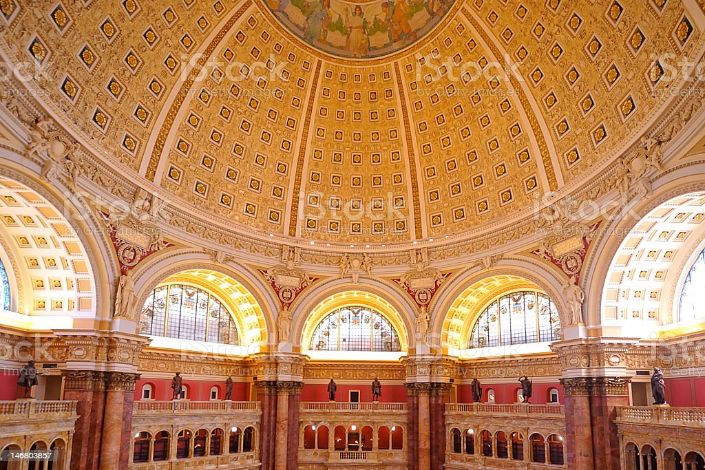Main Hall and dome ceiling, Library of Congress, Washington, DC stock photo