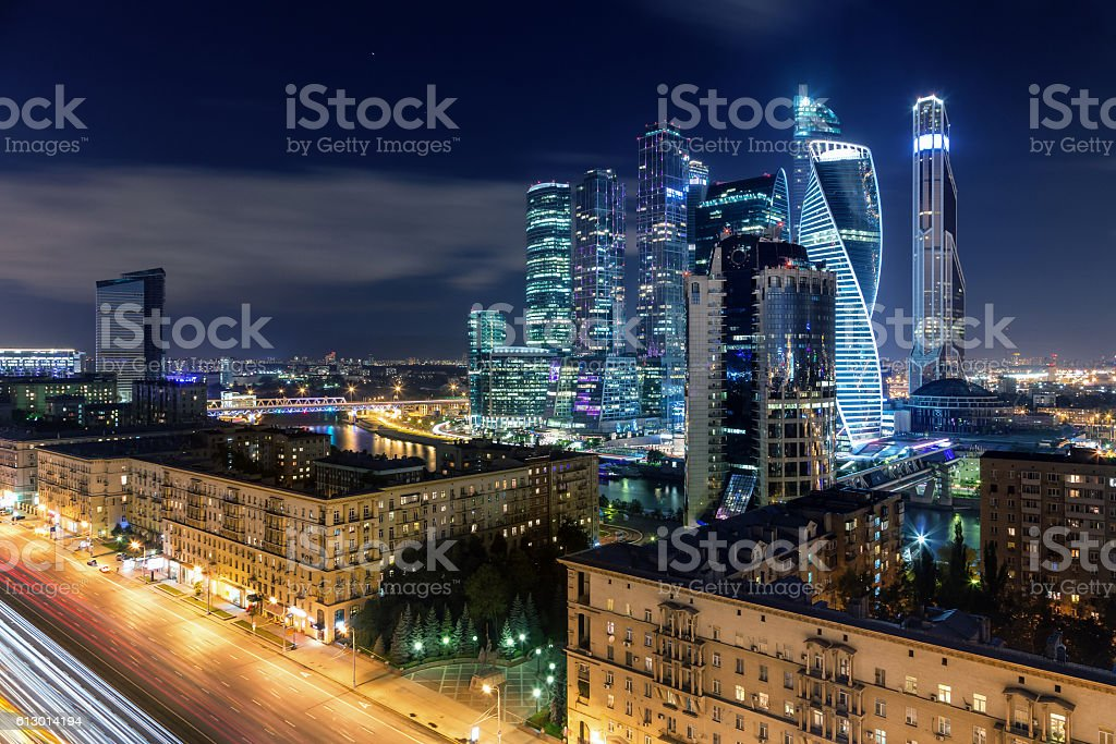 Main highway of Moscow and skyscrapers of international business center stock photo