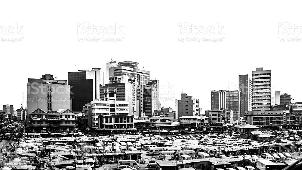 Main market and downtown buildings. Lagos, Nigeria. stock photo