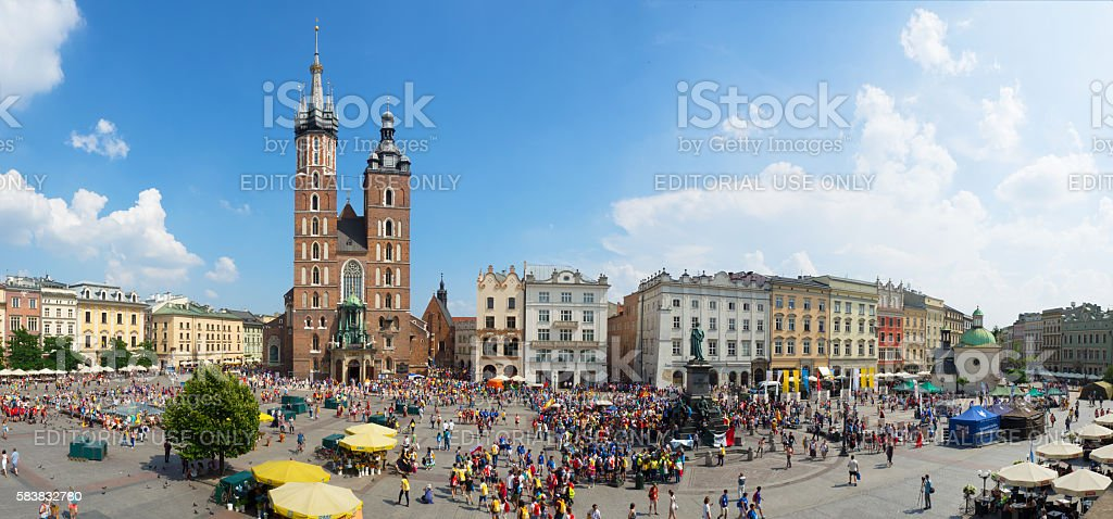 Main Market Square in Cracow, Poland. World Youth Day 2016 stock photo