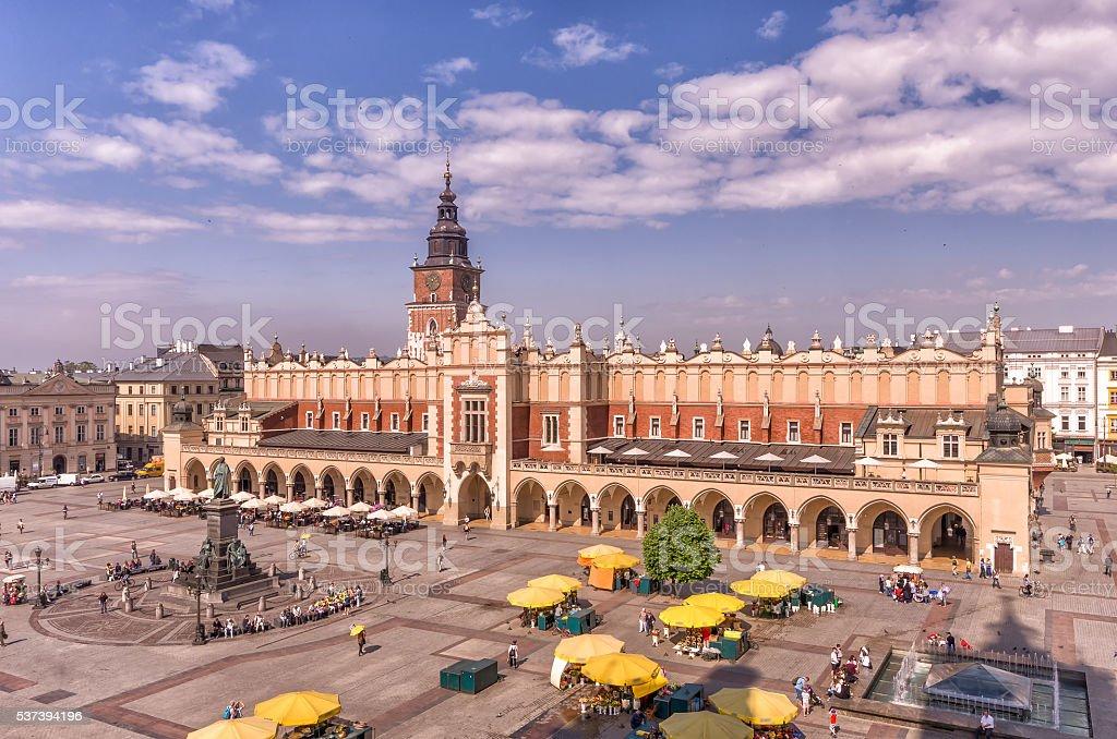 Main Market Square in Krakow, Poland, with Sukiennice stock photo
