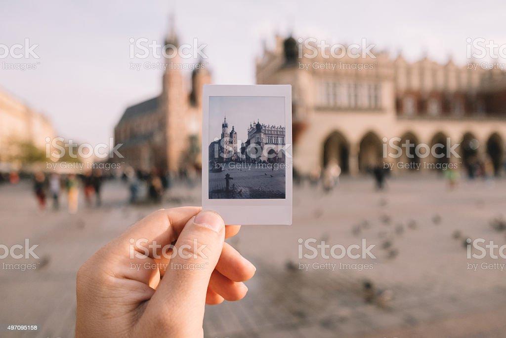 Main Market square of Krakow stock photo