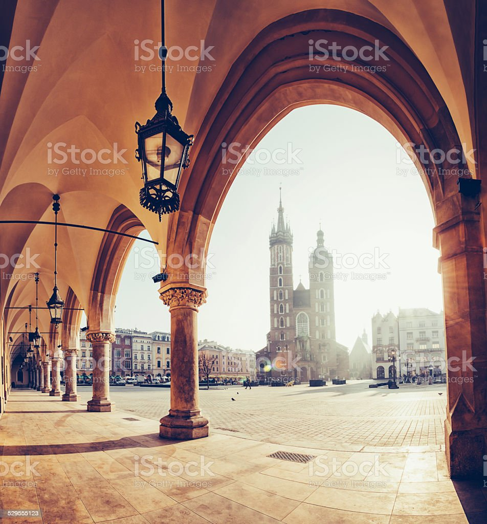 Main Market square of Krakow stock photo