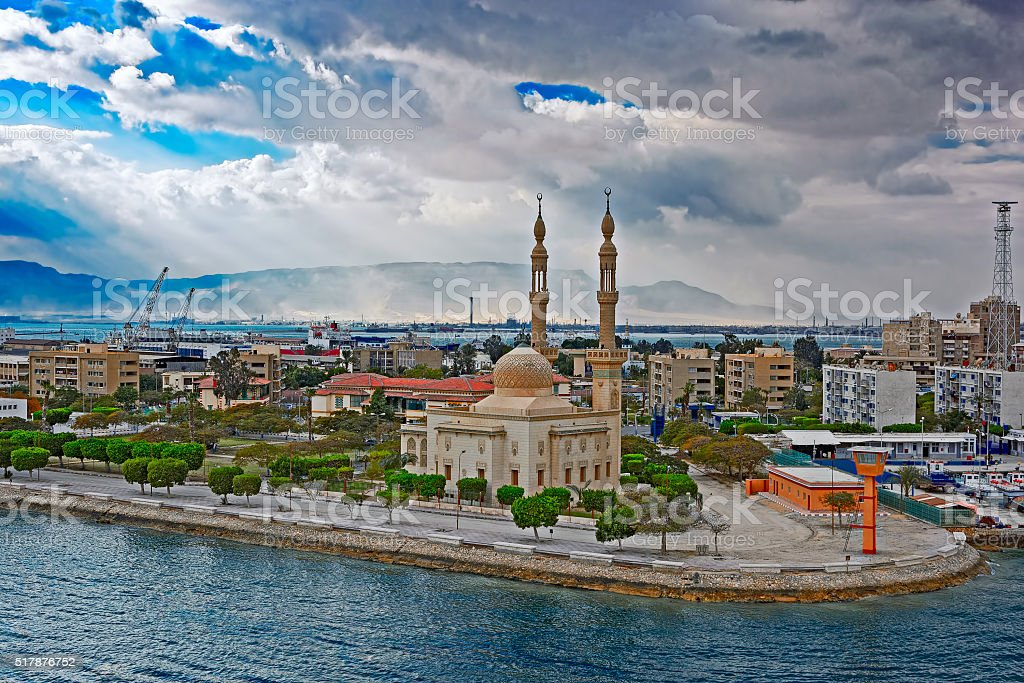 Main mosque in Port Fuad stock photo