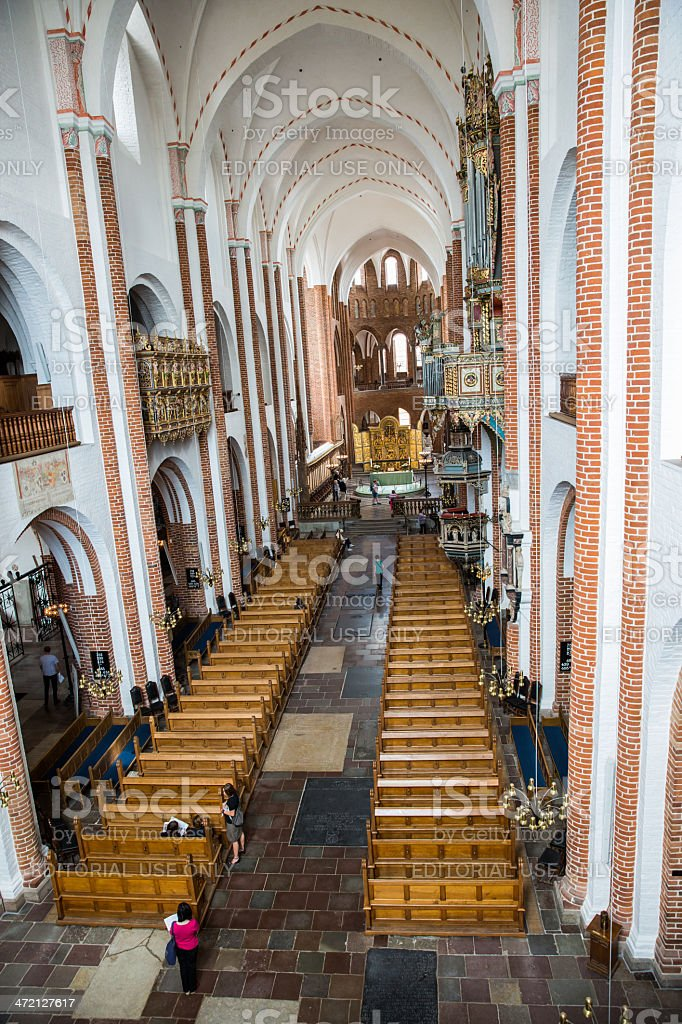Main nave of Roskilde cathedral seen from the balcony stock photo