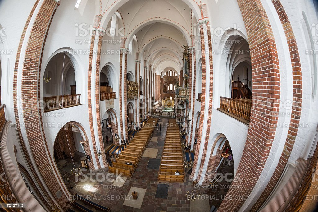 Main nave of Roskilde cathedral seen from the bolcony stock photo