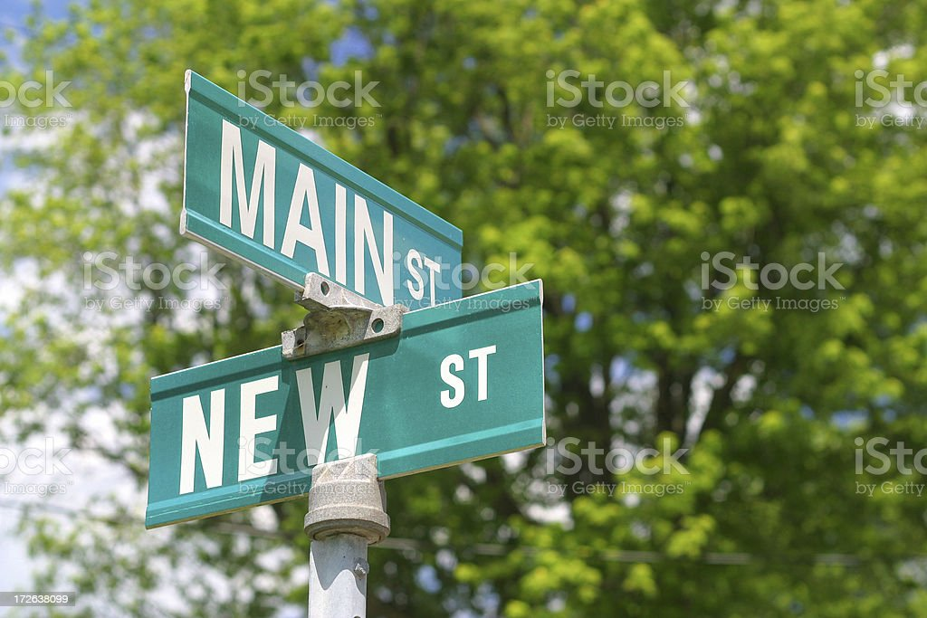 Main & New Street Sign royalty-free stock photo
