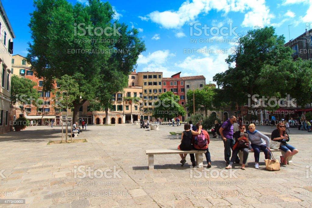 Main Piazza, Jewish Ghetto (Campo de Ghetto Novo); Venice, Italy stock photo