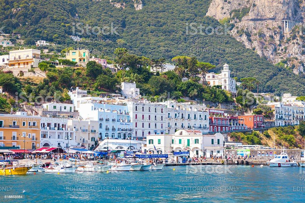 Main port of Capri island in a summer day stock photo