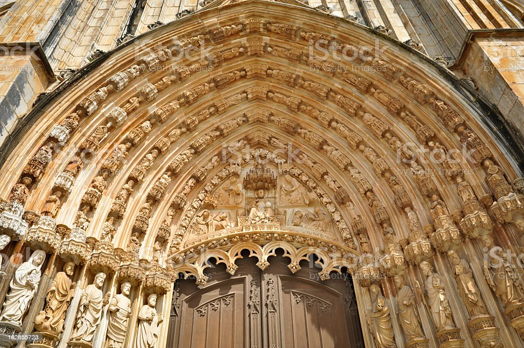 Main portal of the Batalha monastery stock photo