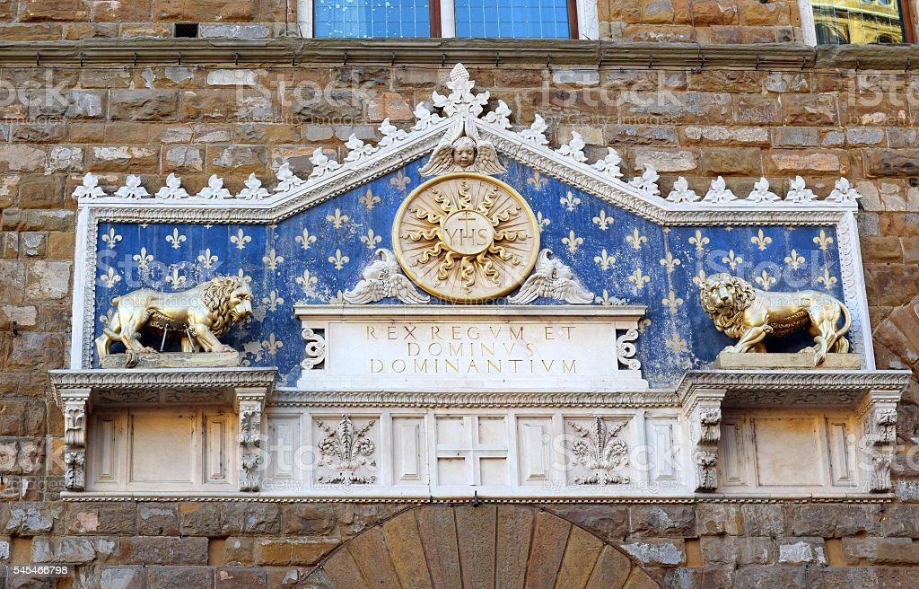 main portal of the Palazzo Vecchio in Florence stock photo