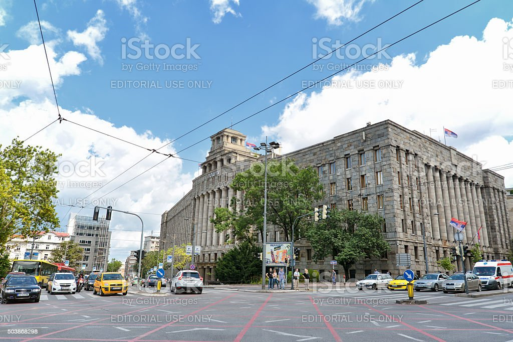 Main Post Office, Belgrade, Serbia stock photo