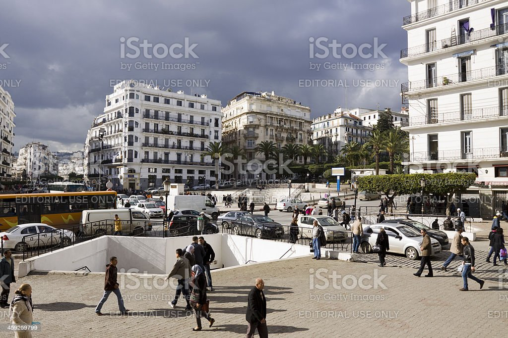 Main post office square in Algiers stock photo