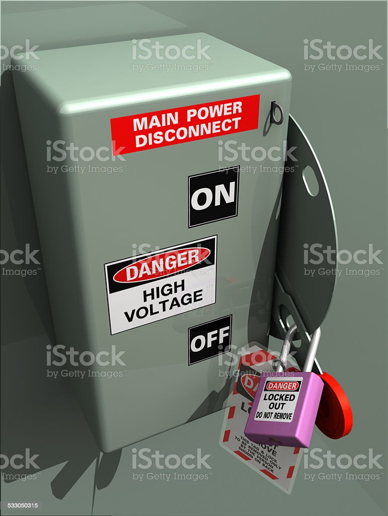 Main Power Disconnect LOTO stock photo