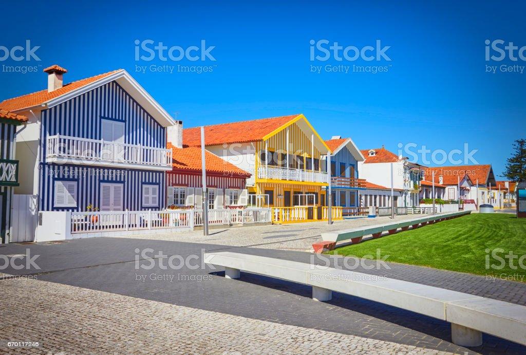 Main promenade of Costa Nova, Aveiro, Portugal stock photo