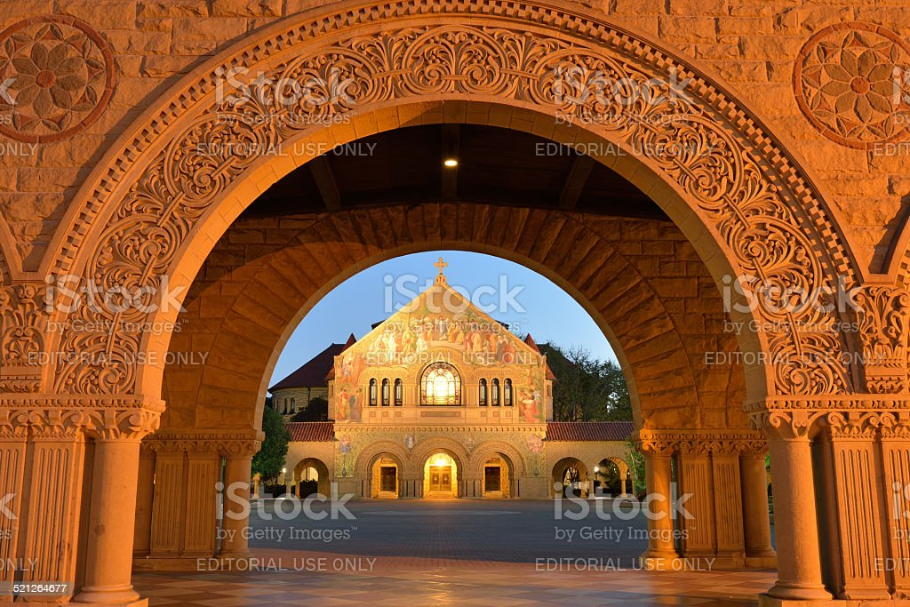 Main Quad and Memorial Church of Stanford University stock photo