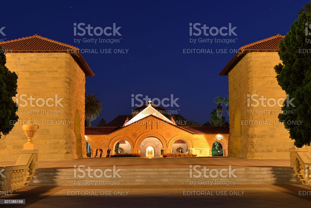 Main Quad of Stanford University at Night stock photo