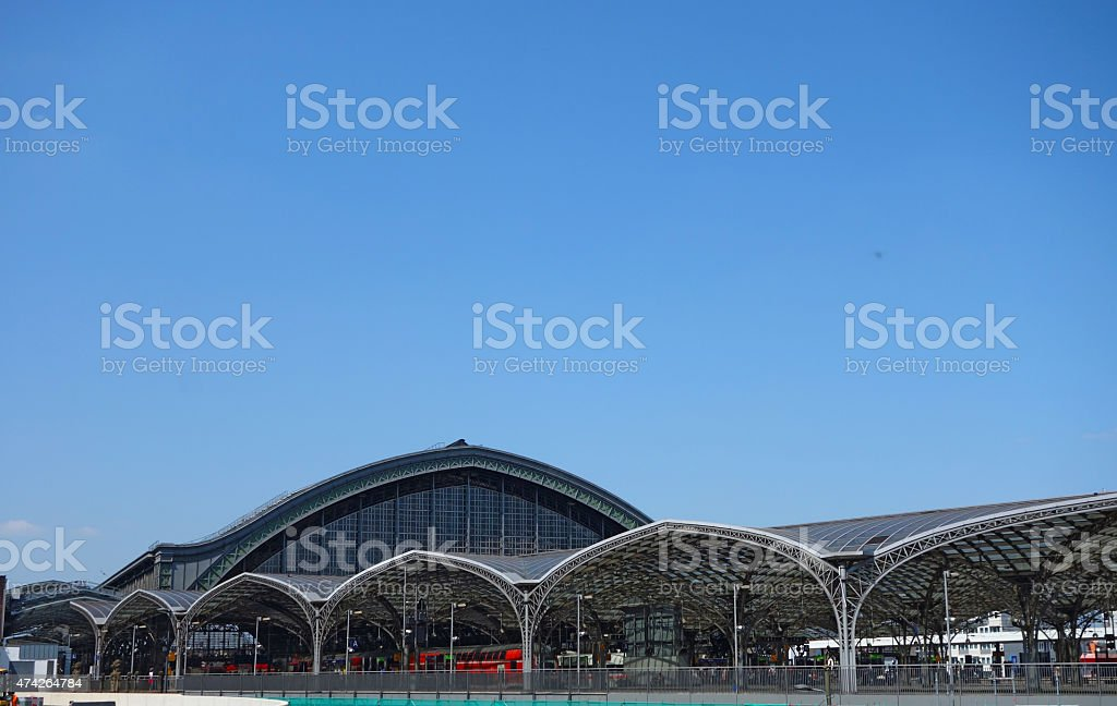 Main railway station in Cologne on blue sky stock photo