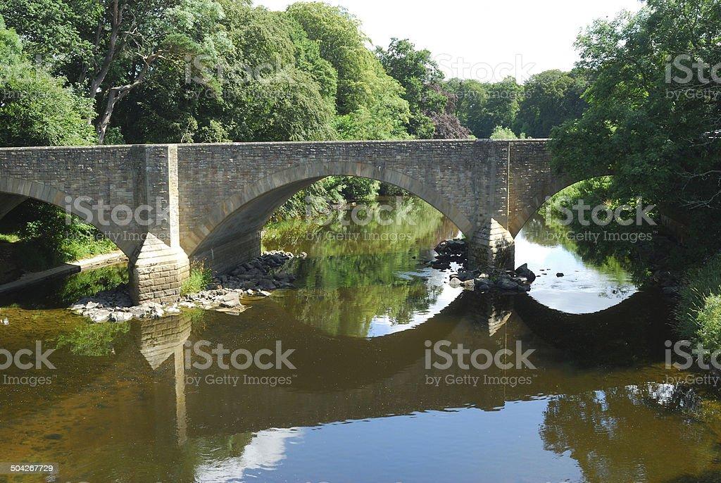 main road bridge over river Teviot stock photo