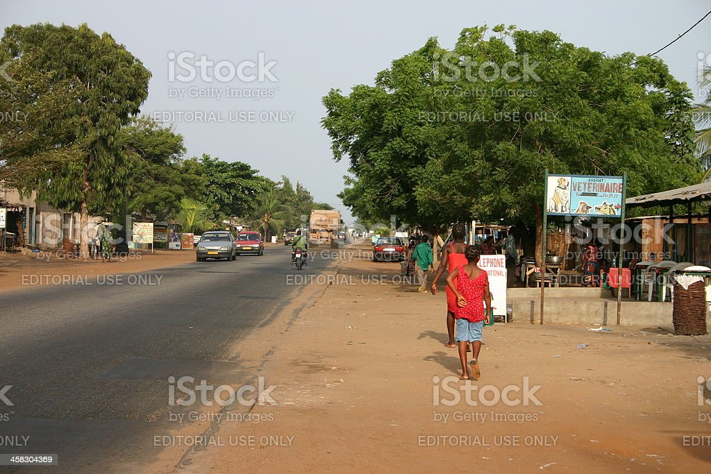 Main Road from Togo to Benin, Chez Alice, Avepozo 2005 royalty-free stock photo