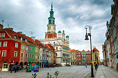 Main square and town hall in Poznan, Poland.