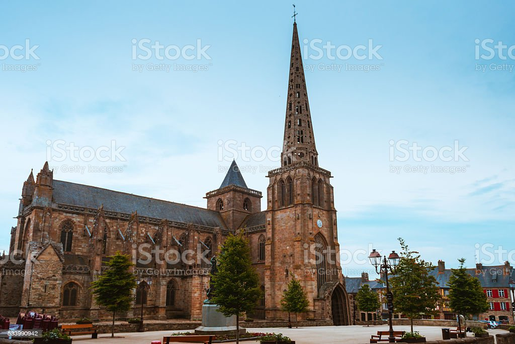 Main square and Treguier Cathedral stock photo