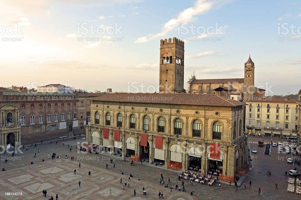 main square - bologna stock photo
