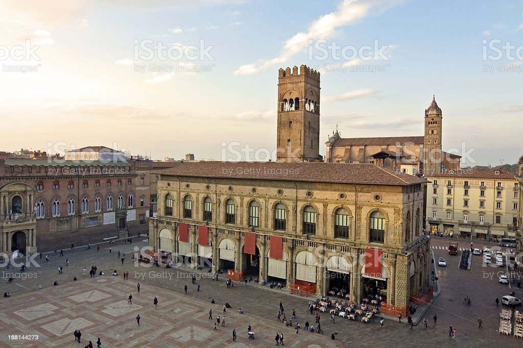 main square - bologna stock photo