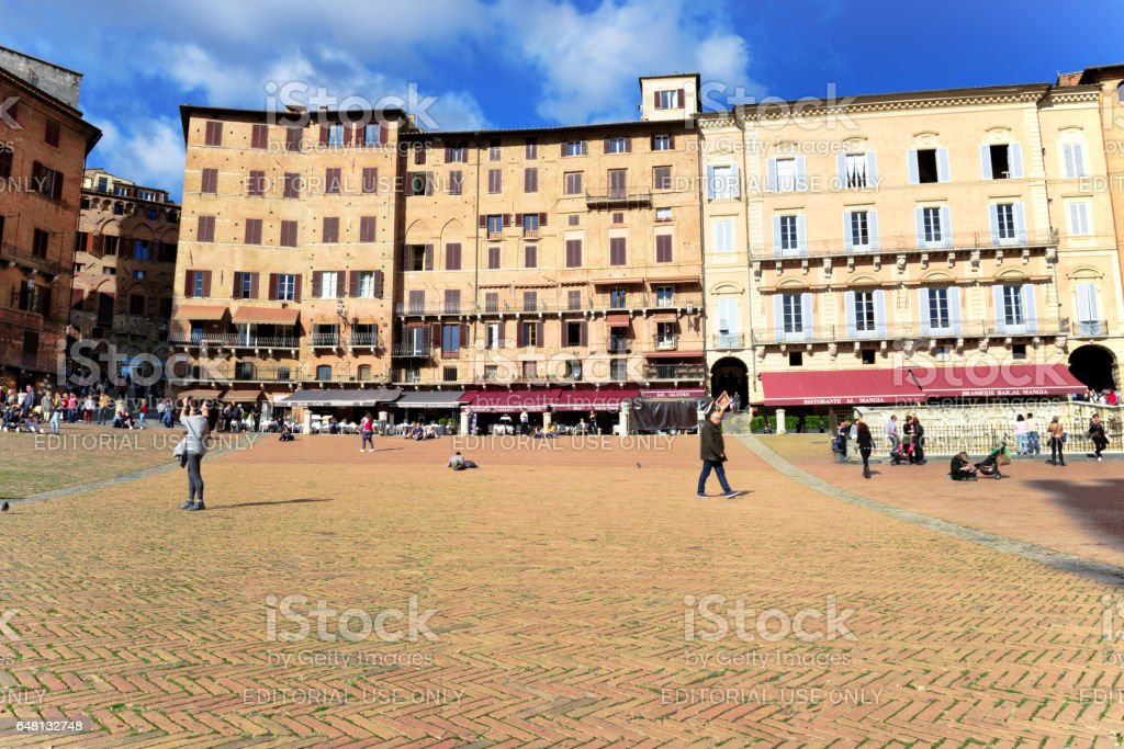 Main Square in center of Siena, Italy stock photo