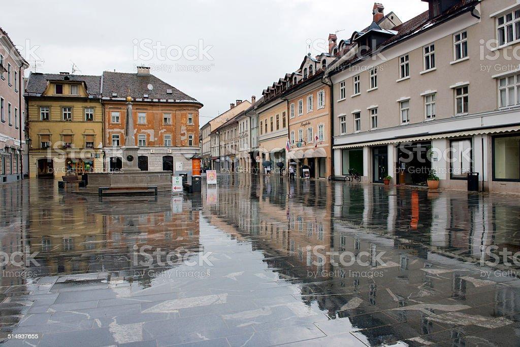 Main Square in Kranj stock photo