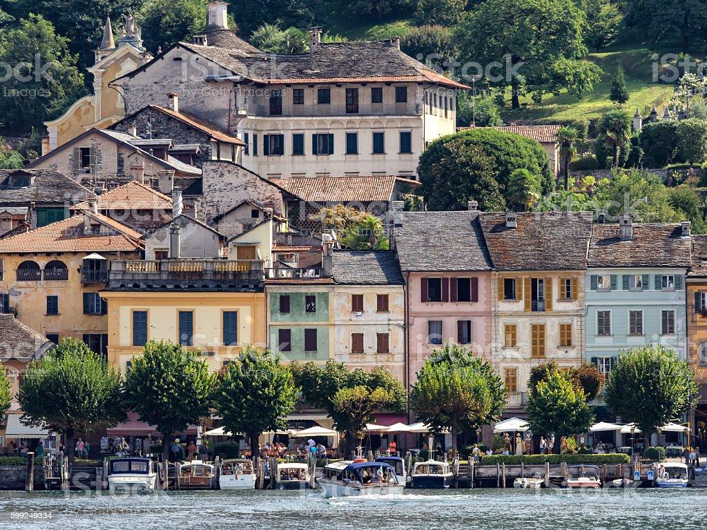 Main square in Orta san Giulio at lake Orta Italy stock photo