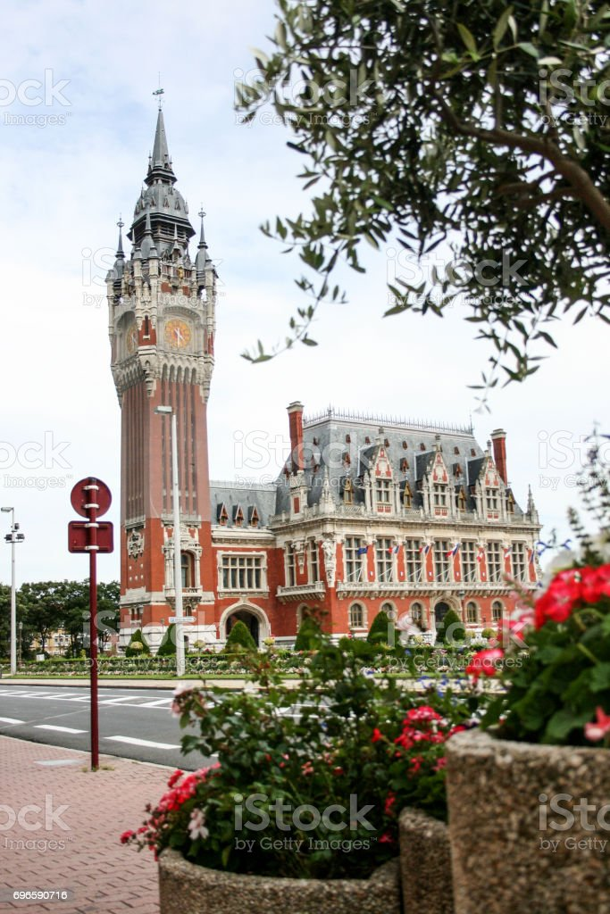 main square in the town centre of calais stock photo